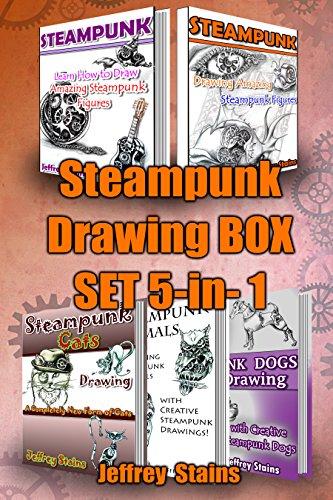 Steampunk Drawing Box Set 5-in-1: Steampunk Drawing 2 books, Steampunk Animals,...