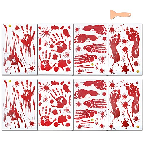 Bloody Footprints Floor Clings, (8 Sheets Bloody Handprints Decal for Halloween Decorations), Blood Splatter Stickers…