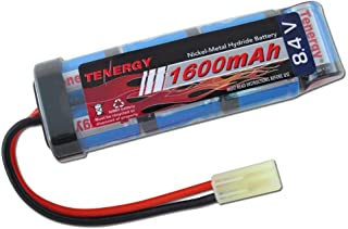 Tenergy Airsoft Battery 8.4V 1600mAh NiMH Flat Battery Pack with Mini Tamiya Connector for Airsoft Guns MP5, Scar, M249, M240B, M60, G36, M14, RPK, PKM (Optional Charger)
