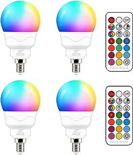 Bombilla LED E14 5W (equivalente a 40W) Colores RGBW Cambio de Color 2700K Blanco Cálido RGB Regulable casquillo fino mando Incluido (4 unidades)