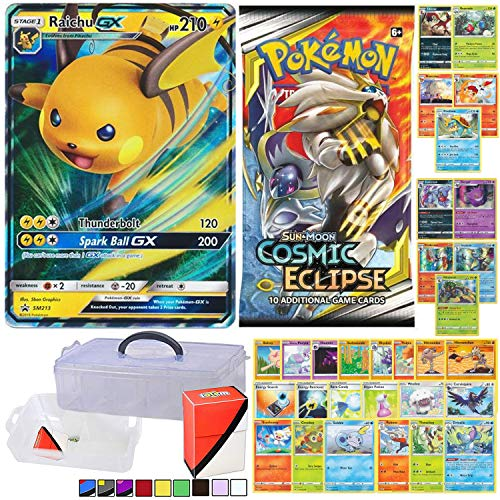 Totem World GX with Booster Pack, 5 Rare Cards, 5 Holo/Reverse Holo Cards, 20 Regular Cards, Totem Collectors Storage Case and Deck Box - Compatible for Pokemon Cards