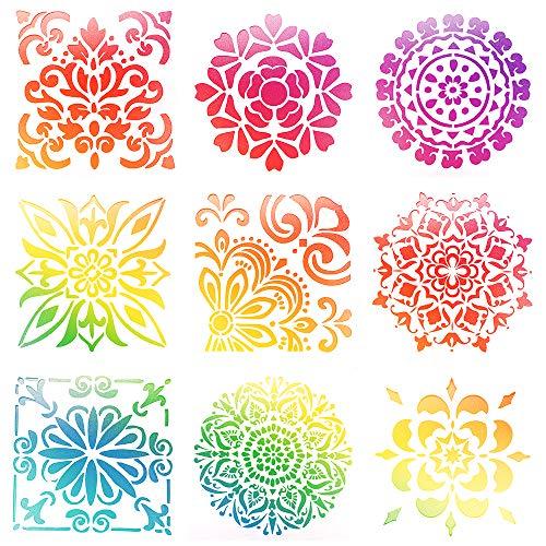 Lirener 9 Piezas plástico Dibujo Pintura Stencil(Patrones de Flores), gráficos Plantilla para Diario Plantillas DIY álbum de Fotos Cuaderno Diario de Recortes y Manualidades, 15x15cm