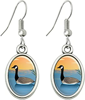 GRAPHICS & MORE Canadian Goose Geese Swimming Canada Novelty Dangling Drop Oval Charm Earrings