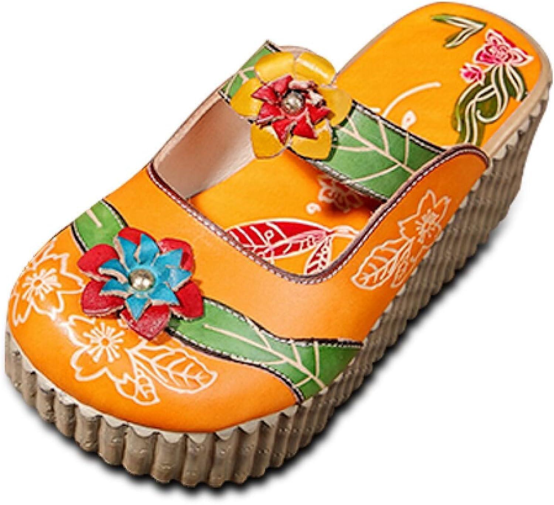 Socofy Damen Sandalen, Sommer Leder Pantoffel Vintage Slipper Slipper Slipper Clogs Slip-Ons Bunte Blaume Schuhe Bequem  fecdd3