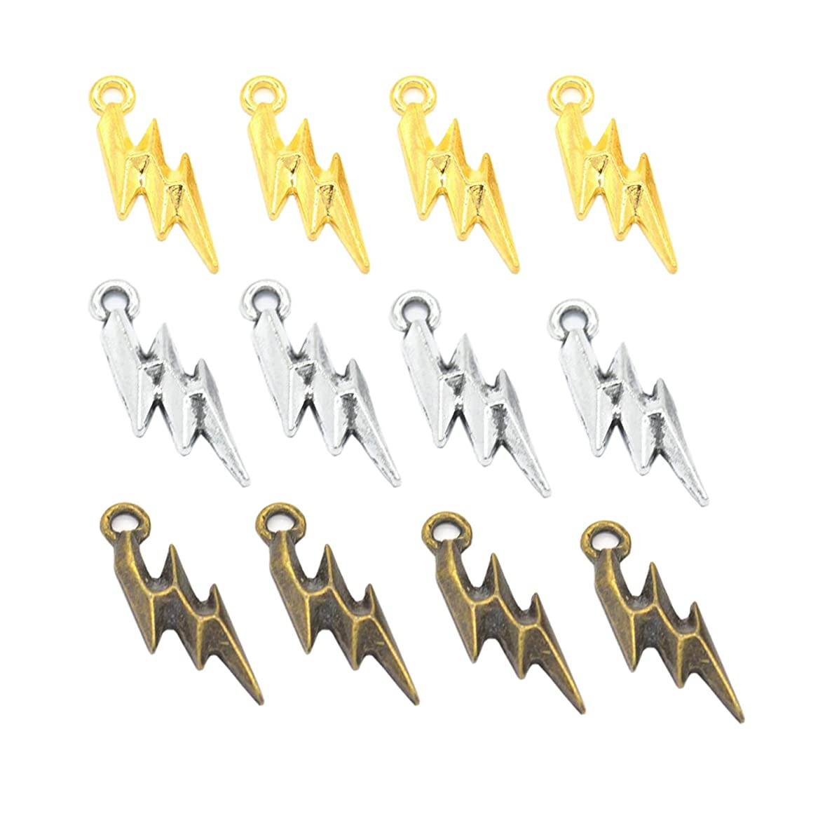 70pcs Wholesale Retro Mixed Color Lightning Bolt Strike Charm Pendant for Necklace Jewelry DIY Making
