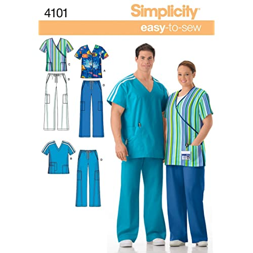 Simplicity Easy-to-Sew Pattern 4101 Women s and Men s Scrubs Chest Size 52- 039855b3cc6