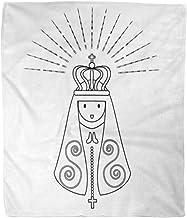 Cobija Nuestra Señora De Aparecida Es Nossa Senhora Patrona Brasil Bendita Manta De Lana Manta De Lana Manta Suave Sala De Estar Cama Sofá De Oficina Cálido Y Cálido Hotel 102X127Cm