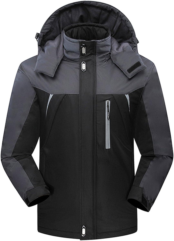 CredI Men's Ski Jackets Waterproof Windproof Fleece Jackets Mountain Hooded Jackets Outdoors Winter