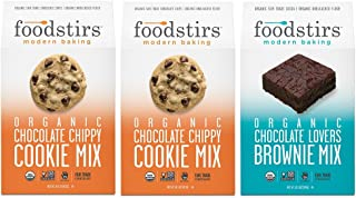 Foodstirs Organic Chocolate Chip Cookie Mix and Chocolate Lovers Brownie Mix, 3 Count Variety Pack