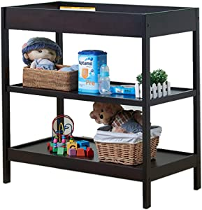 ZAQI Black White Baby Changing Table with Pad  Natural Wood Nursery Infant Dresser Storage Bath Tub Unit Station  87 47 5 89cm  Color Black