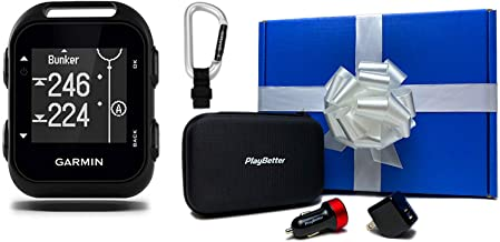 Garmin Approach G10 Beat Yesterday Gift Box Bundle | +Garmin Lanyard Carabiner, PlayBetter USB Car/Wall Adapters & PlayBetter Protective Hard Case | Small, Clip-on, 41,00 Courses | Golf GPS Device