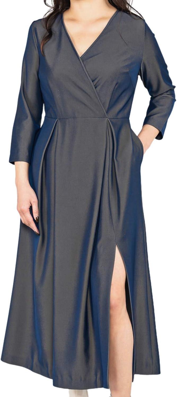 Women's V-Neck Slim Dress Fashion Side Split Dress