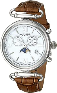 Akribos XXIV Women's Swiss Chronograph Moon Phase Date Watch - Silver Rounded Bezel with Inner Tachymeter Scale - Mother of Pearl Dial - Brown Alligator Pattern Embossed Genuine Leather Strap - AK754