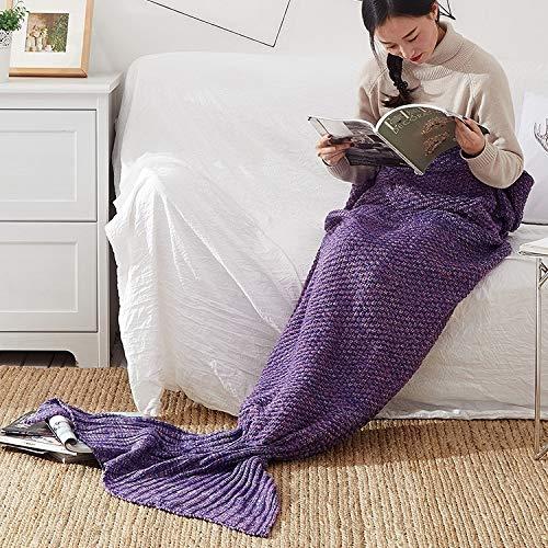 Für die Bettwäsche. NZX Mermaid Schwanzdecke für Erwachsene super weiche schlafende gestrickte Decken, Größe: 140 x70 cm (Rosa) (Farbe : Violet)