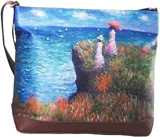 Masterpiece Painting Shoulder Bag Claude Monet Cliff Walk At Pourville Messenger Bag