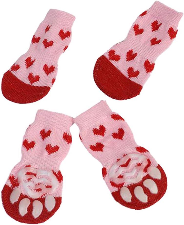4Pcs Xmas Sacramento Mall Pet Dog High order Puppy Cotton Winter Socks Warm Anti-Slip Shoes
