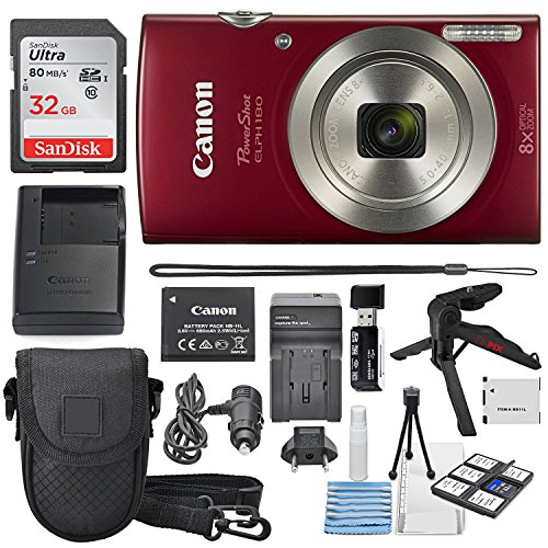 Canon PowerShot ELPH 180 Digital Camera (Red) + 32GB SDHC Memory Card...