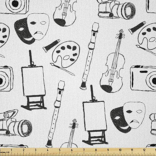 Lunarable Sketch Fabric by The Yard, Classic Fine Arts and Objects Theater Violin Flute Photo Camera Easel, Microfiber Fabric for Arts and Crafts Textiles & Decor, 1 Yard, White and Black