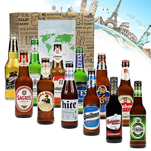 Monsterzeug Bier Weltreise, 12 internationale Biere aus aller Welt, Bierflaschen 12 Länder, Bierweltreise XL Geschenkbox, Bier Geschenkset für Männer