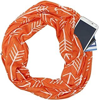 BYFRI Soft Stretchy Jersey Zipper Secret Pocket Scarf Fashion Printed Women Infinity Scarf Ladies Travel Scarfs(Orange)