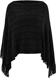 Ferand Women's Striped Poncho Sweater Cozy Warm Wrap Shawl in Multi-Way Neck Style