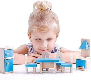 BeebeeRun Montessori Muebles para Casas de Muñecas Juguete de Madera para Niños de 2 3 4 5 Años,los Primeros Juguetes Sensoriales Educativos de Madera para Mi Niños Pequeño 【E20200115】