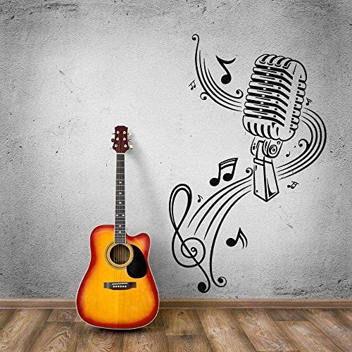 MXLON Micrófono Música Karaoke Wall Art Mural Micrófono Mesa Grande Decoración Música Decoración 35X57Cm Vinilo Pared Pegatinas
