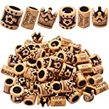 60pcs Imitation Wood Beads Dreadlocks Resin Hair Tube Beads Hollow Out Tube Beads Accessories with Big Hole for Hair Braiding Decoration Crafts