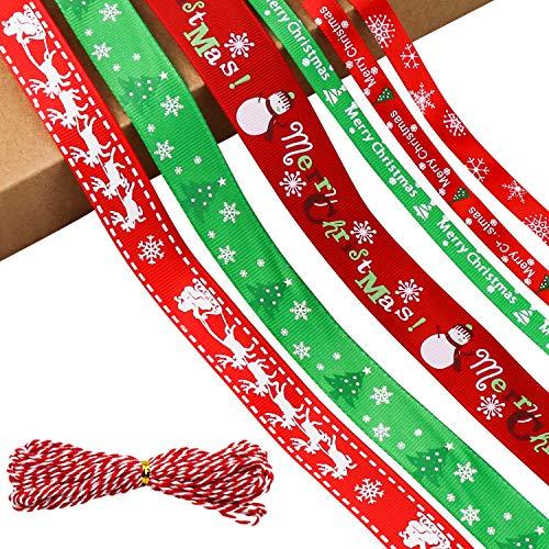 Datyeco 7 Stück Schleifenband Weihnachten, Geschenkband Weihnachten, Dekoband Weihnachten, Stoffband Weihnachten, Weihnachts Dekoband, Bänder Weihnachten, weihnachts stoffband für DIY Handwerk