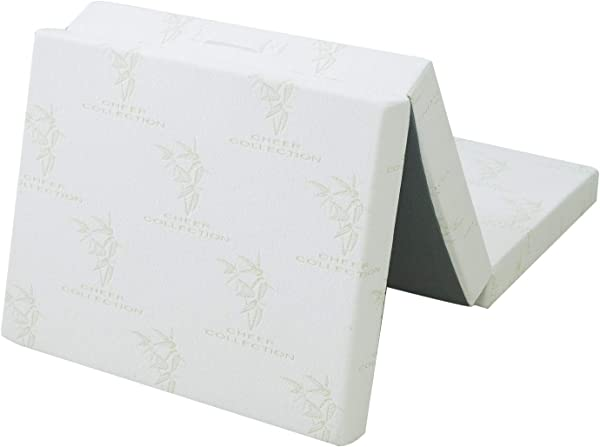 Cheer Collection 4 Folding Mattress Tri Fold Design For Compact Storage With Ultra Soft Bamboo Washable Cover 75 X 31 X 4