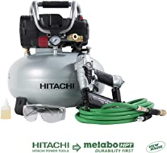 Hitachi KNT50AB Brad Nailer and Compressor Combo Kit, 6 Gallon Pancake Air Tank, 5/8