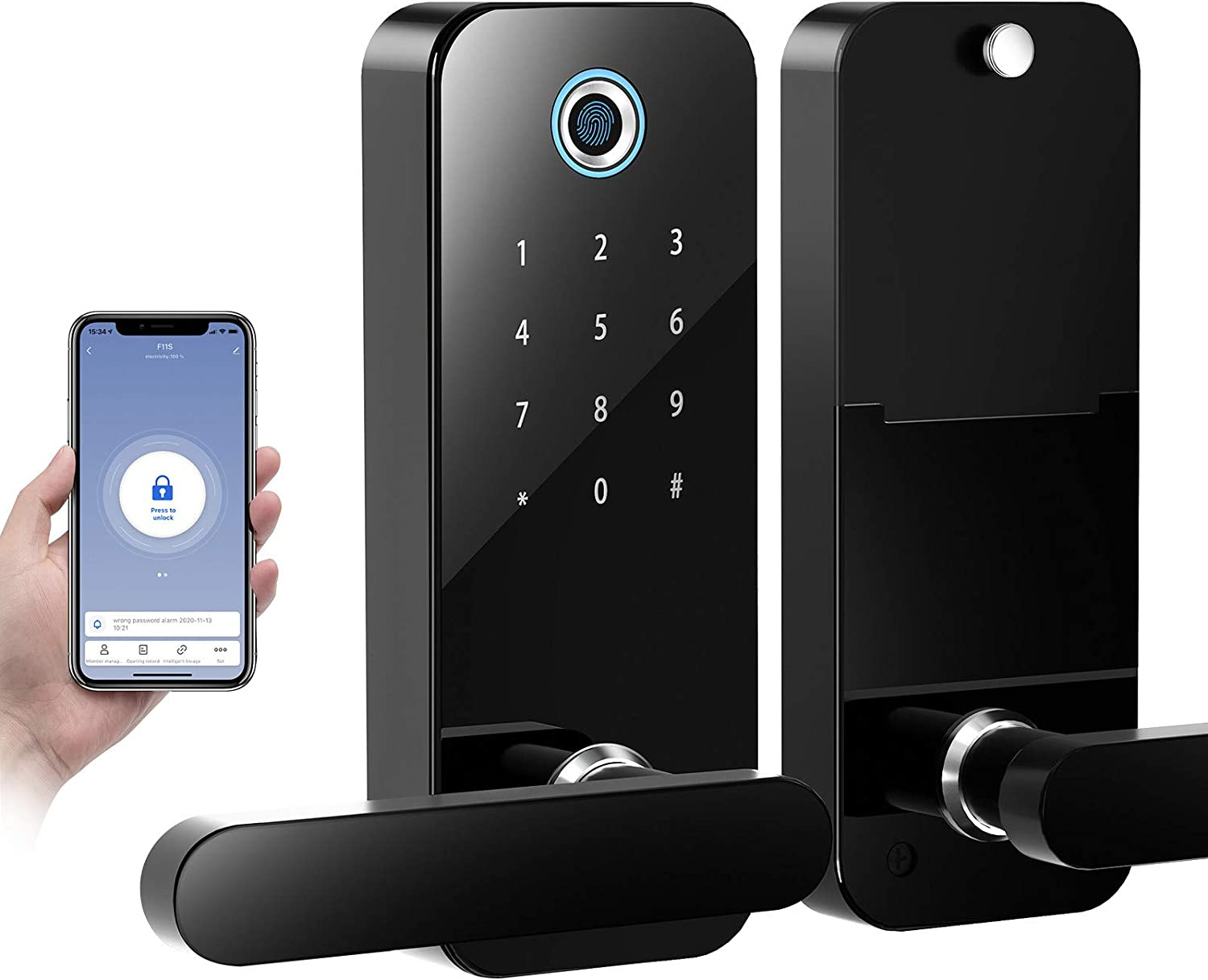 COOLOUS Fingerprint Lock with Bluetooth Tuya Smart App,Stainless Steel Door Lock Touchscreen Keypad Keyless Smart Lock Electronic Entry Lock with Reversible Lever Locking for Home Office Door