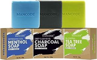 Mancode Refreshing Menthol Soap - Activated Detoxifying Charcoal Soap - Anti Bacterial Tea Tree Soap - 125gram Each | Deep...