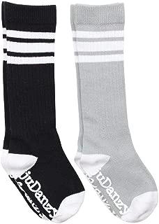 Knee High Tube Socks for Boys, Girls, Baby, Toddler and Child (6-12 Months, Black & Gray)