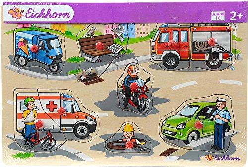 Eichhorn Holz-Steckpuzzle Holz Kinder Puzzle Bauerhof Tiere Fahrzeuge ab 2 Jahre: Farbe: Fahrzeuge