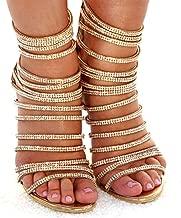 azmodo Woman High Stiletto Heel Dress Gladiator Peep Toe Sandals Gold