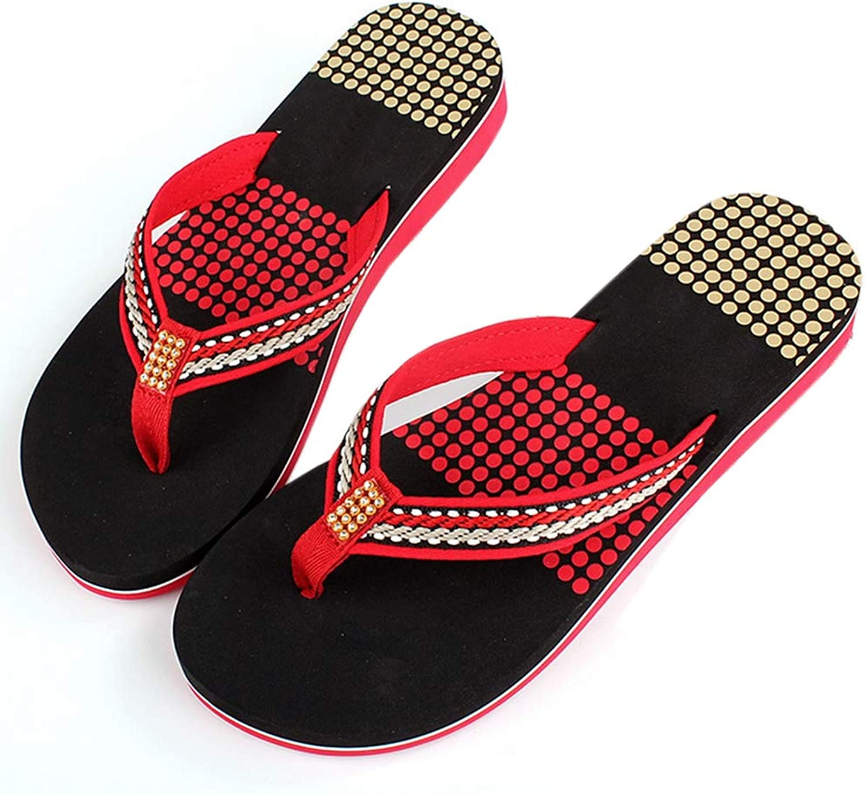 Sandals Flip-Flops Women Wedges High Heels Platform Beach Thong Sandals Slippers,Red,36