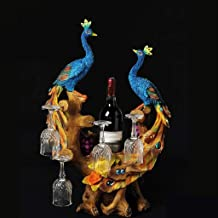 XHHZI Beautifully Decorated Peacock Wine Rack Decoration Home Living Room Wine Cabinet Decoration Creative Cup Holder Wedd...