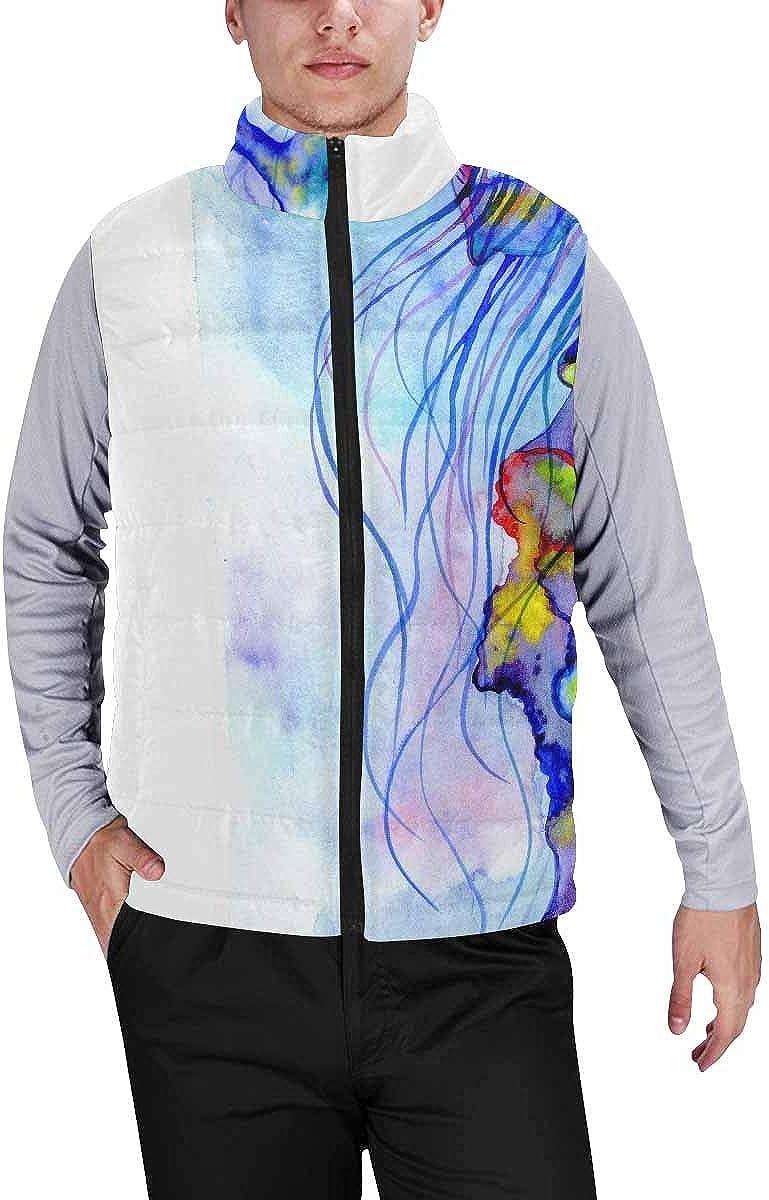 InterestPrint Men's Outdoor Casual Stand Collar Padded Vest Coats Jellyfish Sea Fish Ocean Beach L
