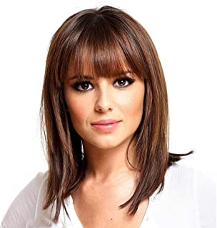 Asdfnfa Hairpiece Female Long Hair Natural Medium Length Straight Bob with Neat Fringe Shoulder Length Wigs Headgear