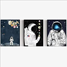 Wall Art Canvas Painting Lovely Astronaut Posters And Prints Home Living Room Decor Giclee Artwork Picture (70x90cm)×3pcs ...