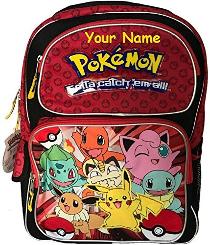 Personalized Pokemon Red Character Back to School Backpack - 16 Inches