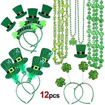 Konsait St.Patricks Day Accessories St Patrick s Day Headband Irish Themed Head Boppers Hair Accessories and Shamrock Necklace for St.Patrick s Day Costume St Patrick s Day Party Favor Supplies …