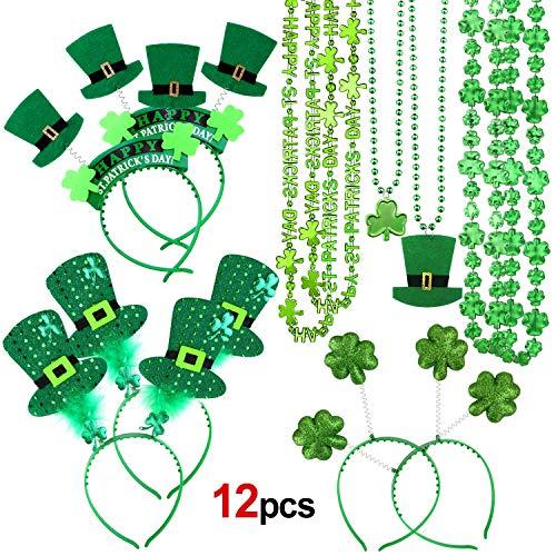 Howaf St.Patricks Day Zubehör, St. Patrick's Day Haarreife Stirnband Haarschmuck und Kleeblatt deko st. Patrick's Day Halskette für St. Patrick Day Kostüm, St. Patrick's Day Geschenk Party Favor