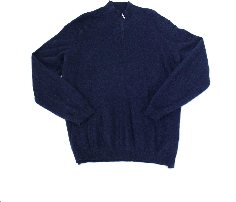 Tasso Elba Mens Sweater Small Quarter-Zip Pullover Cashmere Blue S