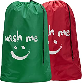 HOMEST 2 Pack XL Wash Me Travel Laundry Bag, Machine Washable Dirty Clothes Organizer, Large Enough to Hold 4 Loads of Laundry, Easy Fit a Laundry Hamper or Basket, Red and Green
