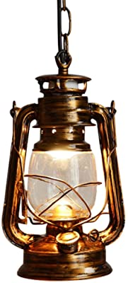 3 Light Antique Bronze Metal Lantern Chandelier With Hurricane Glass Shade