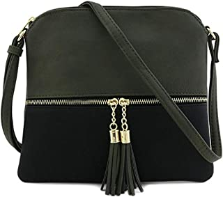 Shoulder Crossbody Bag For Women, Liraly Ladies Leather Tassel Hit Color Messenger Bags