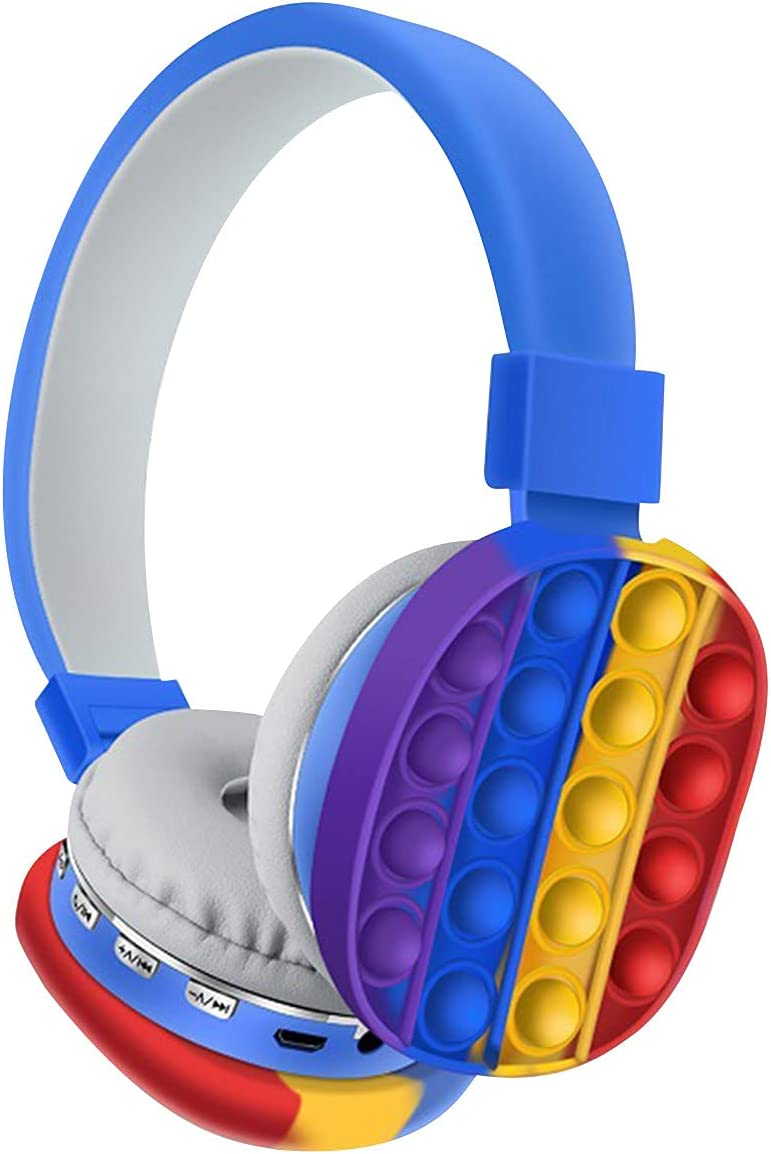 Head-Mounted Bluetooth Headphones with Sensory Toys, Push Pop Fidget Toy Simple Rainbow Color Stereo Wireless Bluetooth Headset for Mobile Phone, Computer, Tablet (Blue)