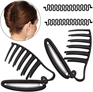 WJood 2 PCS Styling Volume Insets Hair Clip Boost Comb French Twist Maker Fast Volume Twist Hair Boost Comb Hair Up Maker Tool and 2PCS Hair Braiding Tool Magic DIY Hair Twist Styling (Black)
